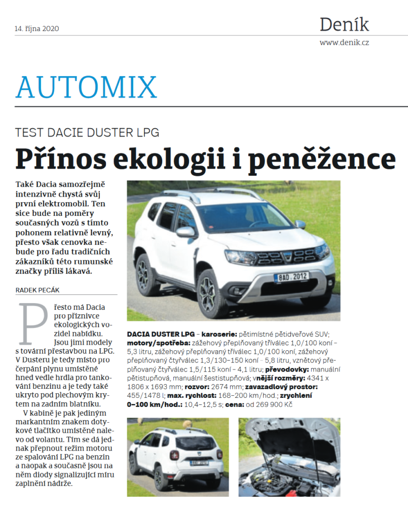 Dacia Duster na LPG - test Deník
